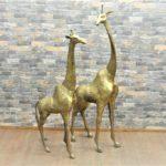 真鍮キリンオブジェ 2頭 デザインオブジェ麒麟 Giraffe ジラフ 親子 オス メスを買い取りました!(^_-)-☆