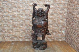 七福神 天然木置物 木彫り 布袋尊 布袋様 縁起物 開運 骨董 オブジェ 大型を買い取りました!(^_-)-☆