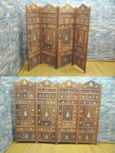 チーク材 アジアン パーテーション 4連 間仕切り 衝立 木製 木彫り 透かし彫りを買い取りました♪(^_-)-☆